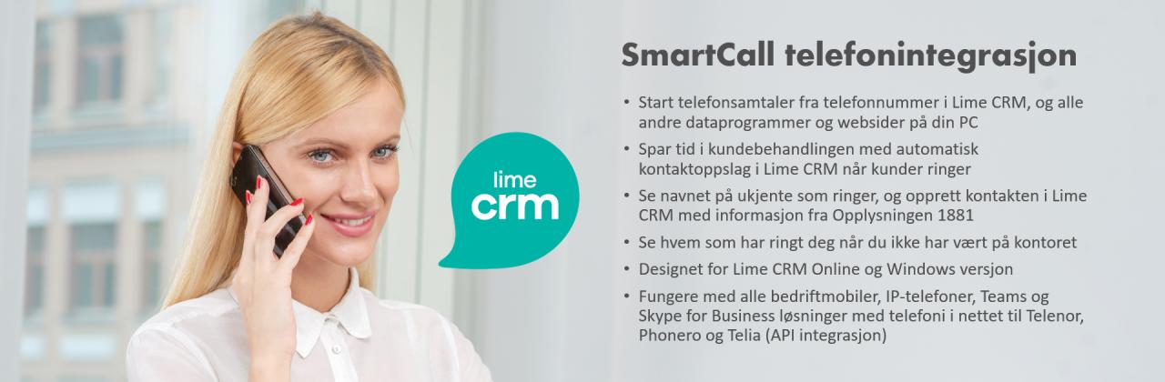 Telefonintegrasjon Lime CRM